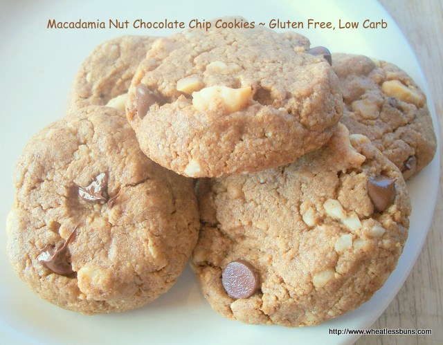 Macadamia Nut Chocolate Chip Cookies ~ Gluten Free, Low Carb