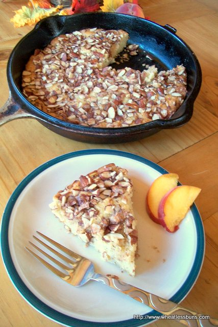 Peach Almond Crunch Cake | Gluten Free, Low Carb | Wheatless Buns